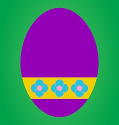 Violet easter egg with flower pattern on green bac vector image