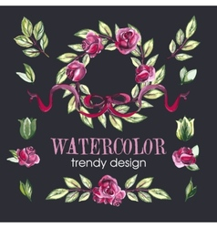 Watercolor Floral Set of Design Elements vector
