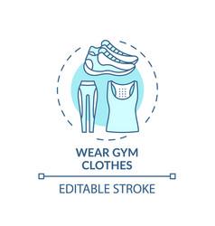 Wearing gym clothes concept icon vector