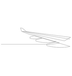 Wing airplane one line flying airplane vector