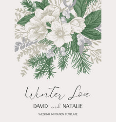 winter wedding delicate invitation vector image