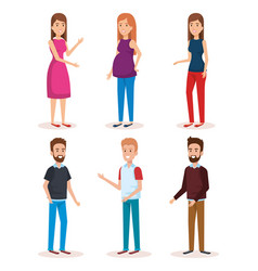 woman pregnacy with group of people avatars vector image
