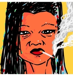 Woman smoking a cigarette vector image