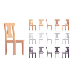 wooden chair furniture set vector image