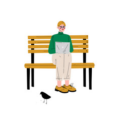 young man sitting on bench with laptop guy vector image