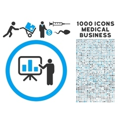 Bar Chart Presentation Icon with 1000 Medical vector image vector image