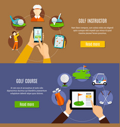 booking golf course and instructor banners vector image vector image