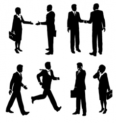 business people silhouetted vector image vector image