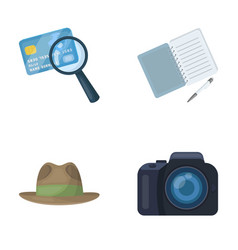 camera magnifier hat notebook with pen vector image vector image