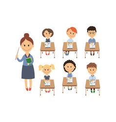 flat children sitting at desk teacher set vector image vector image