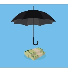 money protection with umbrella cover stack of cash vector image vector image