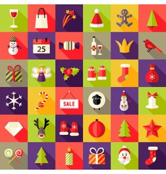 Big Christmas Squared Flat Icons Set 2 vector image