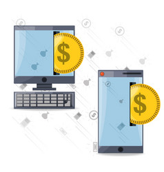 depositing coin on smartphone and computer for vector image