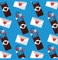 Love case bow arrow and message romance pattern vector