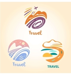 Set logo travel company Tourist trip The vector image vector image