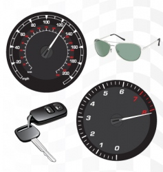 tachometer and speedometer vector image