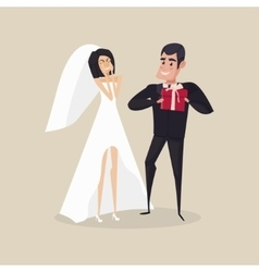 The groom gives a gift to the bride on the day of vector image