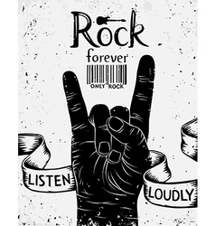 Vintage poster with rock forever Rock and Roll han vector image