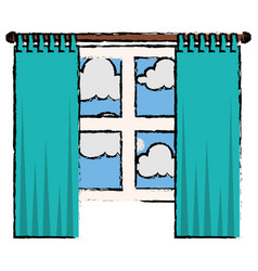 bedroom windows day isolated icon vector image