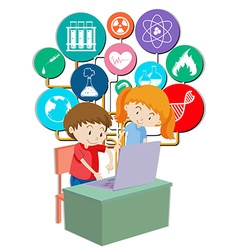 Boy and girl working on computer vector image