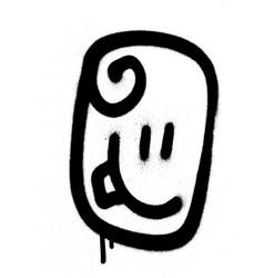 graffiti emoticon happy face sprayed in black vector image