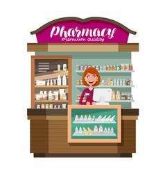 pharmacy pharmaceutics drugstore medicine drug vector image