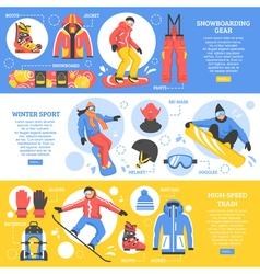 Snowboarding horizontal banners vector