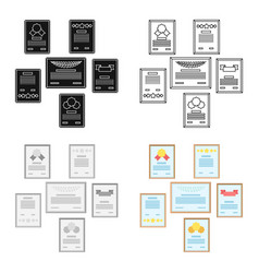 Wall of certificates icon in cartoon style vector