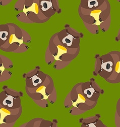 Bear seamless pattern background of wild animals vector image
