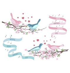 Birds on branches for wedding invitations vector image vector image