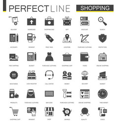 black classic shopping e-commerce web icons set vector image vector image