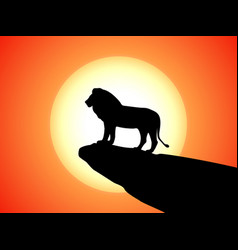 black silhouette lion on rock cliff sunset vector image vector image