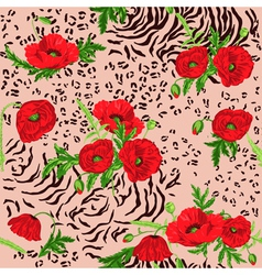 Floral Seamless Pattern - Poppy and Animal Skin vector image vector image