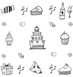 Food birthday doodle art vector image vector image