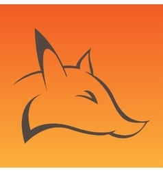 Fox head sign in curve lines vector image vector image