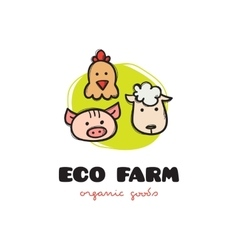 funny cartoon style eco farm logo with pig vector image