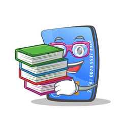 student credit card character cartoon with book vector image vector image
