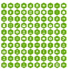 100 philanthropy icons hexagon green vector