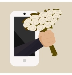 A bouquet of white roses with a hand from the vector image