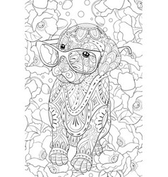 Adult coloring bookpage a cute dow with glasses vector
