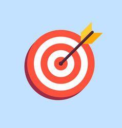 Arrow in center of board flat target icon vector