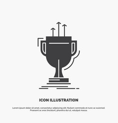award competitive cup edge prize icon glyph gray vector image