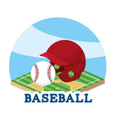Baseball helmet and ball in the field game vector