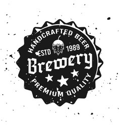 Beer cap with text emblem in vintage style vector