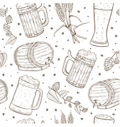 beer seamless pattern vector image