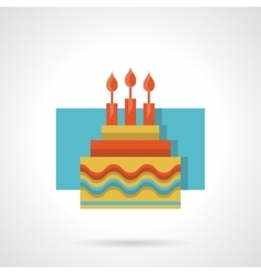 Birthday cake flat color icon vector image