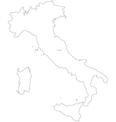 Black White Italy Outline Map vector image vector image