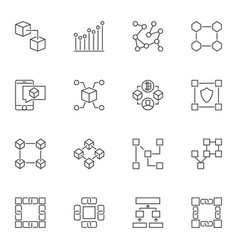 blockchain linear icons set block chain vector image
