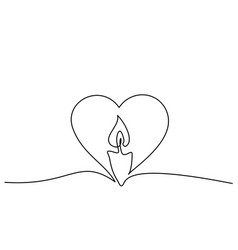 Burning fire candle continuous one line drawing vector