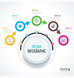 Business timeline infographics with 5 circles vector